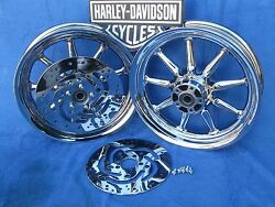 Harley Davidson Touring Flh Or Heritage/ Fatboy Chrome O.e. Wheels As Shown Here