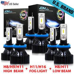 G4 H11+ H11 + H11 LED Headlight Kit HighLow Beam Bulbs + Fog Lights Combo 6000K