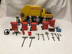 Playmobil Geobra Vintage 3470 City Service Garbage Trash Truck Containers Figure