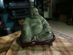 Antique Bronze Happy Maitreya Buddha Statue W/ Carved Wood Stand Patina And Age Vg