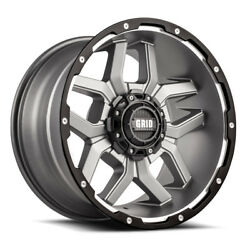 20x10 Grid Offroad Gd07 Anthracite Wheels 5x150 -25 110.3 Set Of 4