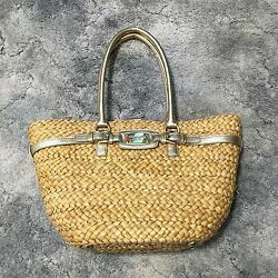 NWT Michael Kors MK Hamilton Straw Husk Beach Bag Large Tote Purse Gold Leather