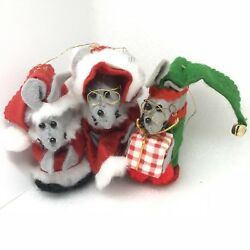 Vintage Christmas Ornaments Felted Bespeckled Mice Santa Mrs Claus