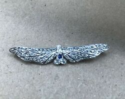 Antique Victorian Heavy Platinum Brooch With Diamonds And A Sapphire Single Cut