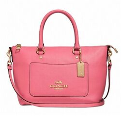NWT COACH Mini EMMA Satchel Crossbody Leather Pink Coral Peony Classic F31466 $152.00