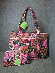 Vera Bradley Mod Floral Pink Betsy Large Purse Tote with Matching Wallet Clutch