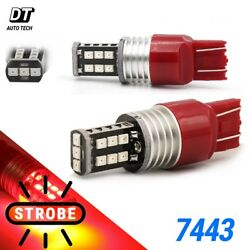 Syneticusa 7443 7440 Led Red Strobe Flash Brake Stop Tail Parking Light Bulb