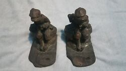 Kbw Boy Fishing Bronze Bookends Antique Rare Art Statues Made In The Usa