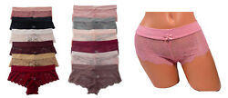 Gift Lot 6 or 12 Women Silky Smooth Waist Full Lace Boyshorts Panty SMLXL