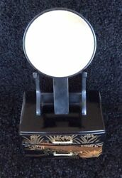 Japanese Jewelry Box With Mirror - Black Lacquer Wooden