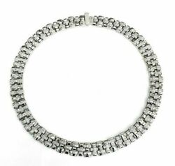 Custom Made 2.55 Carats Diamond Dinner Necklace Chain14K White Gold