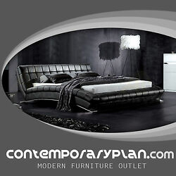 Chobham Hd Contemporary Leather Platform Bed With Modern Steel Arch Leg - Queen