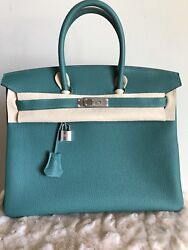 Authentic HERMÈS BIRKIN - 35CM - TOGO LEATHER - EMERALD GREEN - SILVER Hardware