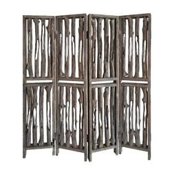 7 Ft Brown 4 Panel Room Divider Partition Privacy Folding Home Office Wall Cover