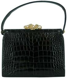 VINTAGE BLACK CROCODILE EVENING HAND BAG SAKS 5TH AVE GOLD CLASP