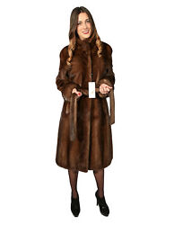 WOMEN'S FUR COAT WITH BELT DEMI BUFF A FULL LEATHER WITH KOREAN NECK 48