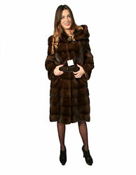 MINK FUR COAT WITH HOOD WOMEN'S CROSS AND WORKING WITH SPLIT LATER