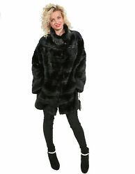 MINK FUR BLUE GRAPHITE HORIZONTAL WORKING WITH DIFFERENT HEIGHTS AND NECK WIDE