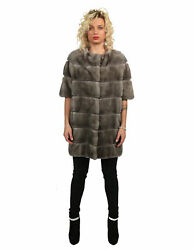 MINK FUR COAT WITH BLUE IRIS HORIZONTAL PROCESSING AND NECK