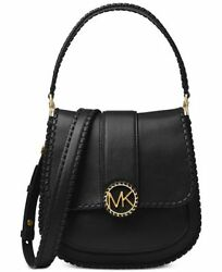 NWT Michael Kors LILLIE Stitched Messenger Crossbody Bag In BLACK Leather $398