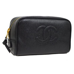 Authentic CHANEL CC Cosmetic Pouch Bag Black Caviar Skin Leather Vintage AK25870
