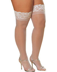 Morris Costumes Women's Thigh High Sheer With Lace White Queen 16-18. RL0005X