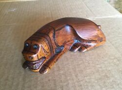 Early 1800 Carved Wood Hound Dog Snuff Box With Amber Eyes