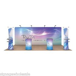 20ft Straight Portable Fabric Tension Exhibition Display Kits+ Custom Graphic