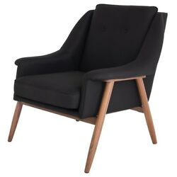 32.5 Wide Occasional Chair Contoured Padded Black Fabric Solid Walnut Frame
