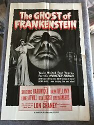 Ghost Of Frankenstein 1950and039s Re-release Orig. 1 Sheet Movie Poster 27x41 F+