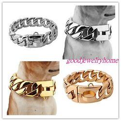 24/30mm Heavy Stainless Steel Gold / Silver Cuban Dog Pet Chain Collars Necklace