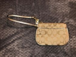 Coach Gold Wristlet with LIlac Interior-EUC