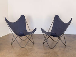 Pair Of Vintage Bkf Hardoy Butterfly Chairs For Knoll