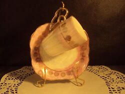 Vintage Demitasse Cup And Saucer Pink And Charcoal Design Fine China W/ Stand