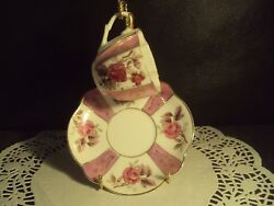 Vintage Demitasse Cup And Saucer Pink With Roses Fine China Stand Included