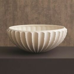 17 Dia. Lilly Bowl Artisan Handcrafted Portuguese Ceramic Textured Ridges