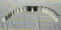 Lot Of 18 Small Vintage Electrical Insulators Brown White Ceramic Porcelain