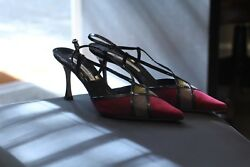 Brian Atwood Slingback Heels Shoes Multi Color Rare Made In Italy New Size 7.5 M