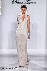 PNINA TORNAI Style 4133 Sz 4 (8) Ivory Sheath Halter Wedding Dress Gown Beaded
