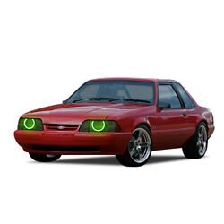 Ford Mustang 87-93 Chs Bright Green Led Headlight Halo Ring Kit