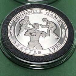 1990 Seattle Goodwill Games 1 Troy Oz .999 Fine Silver Collectible Round Coin
