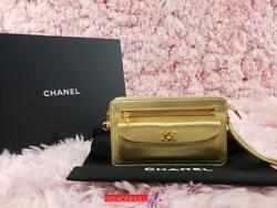 Vintage CHANEL Vintage Gold Metallic Lambskin Flap CC Turnlock Wristlet Clutch