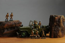 Antique Tin Toy Tn Nomura Jeep Japan Us Army 6 Elastolin Soldiers Germany