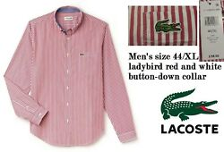 Lacoste Mens X-large Long-sleeve Bengal Stripe Regular Fit Woven Shirt Red/white