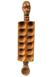 Art African Arts First - Antique Game Dand039 Awale Dan Anthropomorphic - 70 Cms