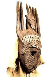 Art African - Mask Portage Dogon Full / Complete - Cowrie And Beads - 475 Cms