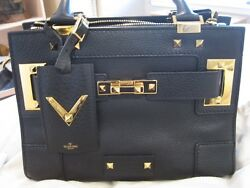 VALENTINO MY ROCKSTUD SPIKED CALFSKIN LEATHER TOTE HAND BAG CROSS BODY BAG SET!