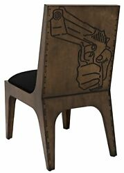 24 W Pistol Dining Chair Urban Hand Carved Back Details Solid Baltic Birch