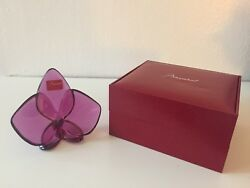 New Signed Baccarat Orchidee Lucky Orchid Fuschia Paper Weight W/box/bag/ribbon