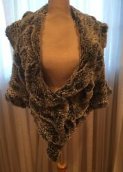 Rex Rabbit Natural Fur Fabulous Stole, Perfect Look, Wear Over Dress Or Coat, On